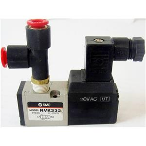 SMC NVK332 AIR PNEUMATIC SOLENOID VALVE, WITH 110VAC SOLENOID, WITH QUICK FITTI
