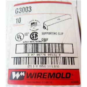 *BOX OF 10* WIREMOLD G3003 SUPPORTING CLIPS, GRAY, FOR 3000 SERIES RACEWAY - NE