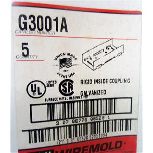 *BOX OF 5* WIREMOLD G3001A RIGID INSIDE COUPLING, 3000 SERIES, GALVANIZED STEEL
