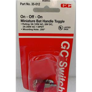 "GC PART # 35-012 MINIATURE BAT HANDLE TOGGLE SWITCH, ON-OFF-ON, .250"" MOUNTING"
