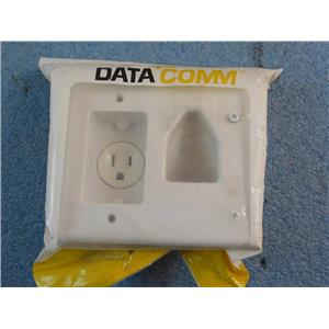 Data Comm Recessed Low Voltage Cable Plate W/ Recessed Power 45-0021-WH