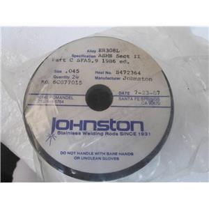 Johnston ER308L  2- lb Spool  Sz .045  ER308  Stainless Steel Welding Wire