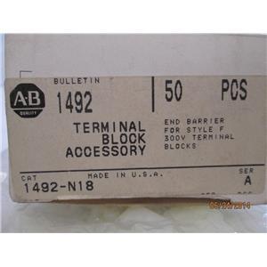 A-B Allen-Bradley 1492-N18 Terminal Block Accessory Series A Box w/ 50 pcs.
