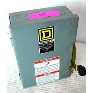 SQUARE D DU322 SAFETY DISCONNECT SIWTCH, TYPE 1 NEMA ENCLOSURE, 60A 60 AMP, 15H