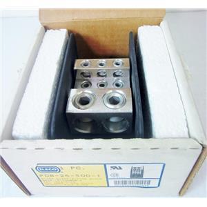 ILSCO PDB-26-500-1 POWER DISTRIBUTION BLOCK, Al Mec (p)(2)500-4 (s)(6)2/0-14 T