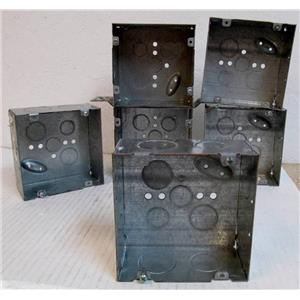 Lot of Eight Total Electrical Conduit Junction Box of Welded Steel - Diff. Sizes