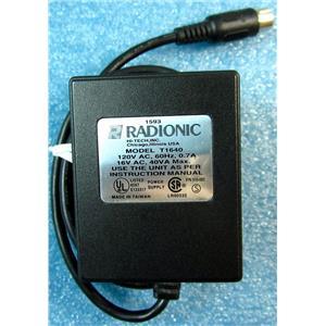 RADIONIC MODEL T1640 POWER SUPPLY FOR LIGHTING, 16VAC 40VA OUTPUT, 120VAC 60HZ