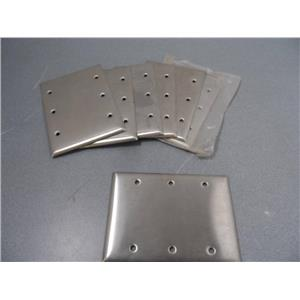 Bryant / Hubbell  3-Gang Blank Wall Plate Stainless Steal New Lot Of 8