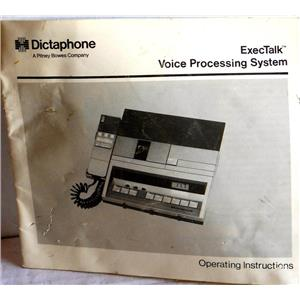 DICTAPHONE EXECTALK VOICE PROCESSING SYSTEM OPERATING INSTRUCTIONS