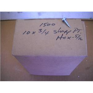 """Sharp Point Hex Screws  10X3/4  5/16"""" QTY1500 New"""