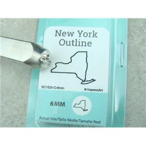 """New York Outline"" 1/4""-6mm-Large Stamp-Metal-Hardened Steel-Gold & Silver Bar"
