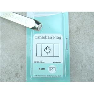 """Canadian Flag"" 1/4""-6mm-Large Stamp-Metal-Hardened Steel-Gold & Silver Bar"
