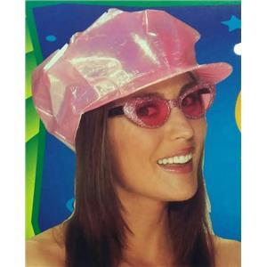 Pink Shiny Iridescent Go Go 60s 70s Cap Costume Hat