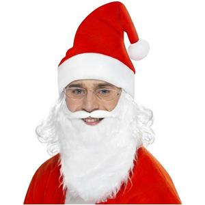 Santa Dress Up Kit Costume Accessory Hat Beard and Glasses Set