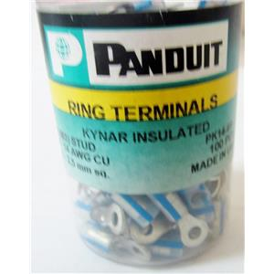 *PACK OF 100* PANDUIT PK14-6R-C RING TERMINALS, KYNAR INSULATED 18-14 AWG - NEW
