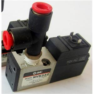 SMC NVK332 AIR PNEUMATIC SOLENOID VALVE, WITH 110VAC SOLENOID, WITH FITTINGS