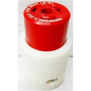 RED AND WHITE NEMA L6-20 FEMALE POWER PLUG, 20A 250V GROUNDING