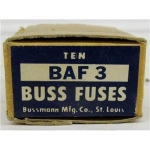 BUSS FUSES BAF3 (BOX OF 10) P/N: 107610 FAST ACTING FUSE