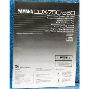 YAMAHA OWNER'S MANUAL FOR CDX-750 550 NATURAL SOUND CD PLAYER