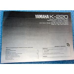 YAMAHA K-220 MANUAL FOR NATURAL SOUND STEREO CASSETTE DECK