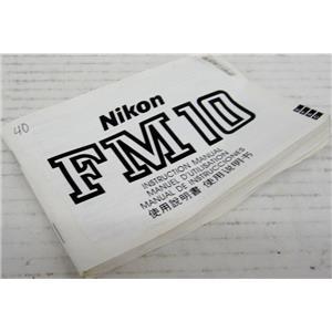 NIKON 81-3-3214-5311 MANUAL FOR FM10 35mm CAMERA, 35 mm FILM CAMERA