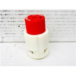 RED AND WHITE NEMA L2-20 FEMALE POWER PLUG, 20A 250V 3 PHASE