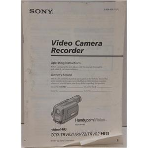SONY INSTRUCTION MANUAL FOR CCD-TRV82 CAMCORDER VIDEO CAMERA