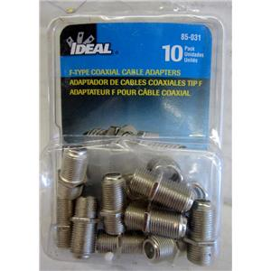IDEAL 85-031, 10 PACK OF F-TYPE COAXIAL CABLE ADAPTERS