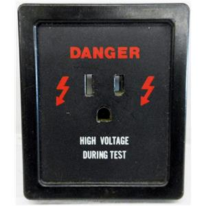 DANGER HIGH VOLTAGE DURING TEST RECEPTACLE