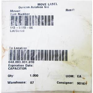 113-3180-00 CAPACITOR, AEROSPACE SPARE PART - NEW