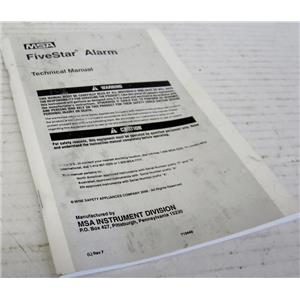 MSA TECHNICAL MANUAL FOR FIVESTAR GAS ALARM, FIVE STAR, OEM DOCUMENTATION