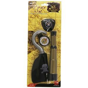 Pirate Costume Accessory Set Hook Compass Telescope Eyepatch