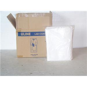 Uline Polypropylene S-15374W-L Lab Coat with No Pockets  White, Large Box/25