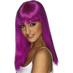 Smiffy's Neon Purple Glamourama Long Wig with Bangs