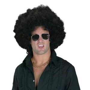 Economy High Afro Wig with Purple Pick