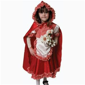 Girls Pretend Red Riding Hood Child Costume Dress-Up Set Large 12-14