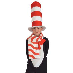 Child Cat in the Hat Scarf Candy Cane Red and White Striped