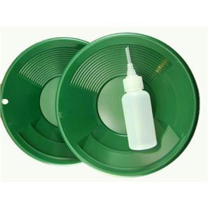 "Lot of 2 - 8"" Green Gold Pans w/ Bottle Snuffer-Panning Kit-Duel Riffles-Mining"