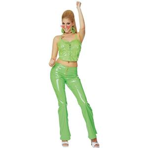 Rubies Sexy Lime Green Disco Girl Costume Bustier Bellbottoms Size Medium 10-14
