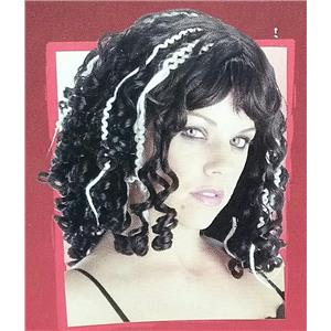 Women's Victorian Curly Streaked Black and White Vampire Wig