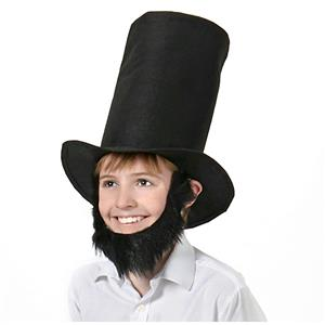 Heroes in History Abraham Lincoln Disguise Beard and Stove Pipe Hat Costume Kit