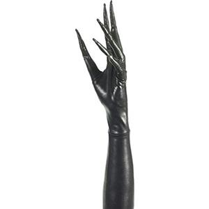 Creepy Twisted Circus Long Shiny Black Faux Leather Pointy Fingered Gloves