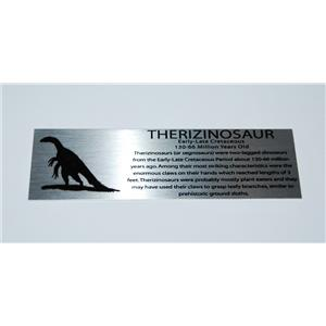 Therizinosaur Dinosaur Fossil Large Metal Display Label 6x2 #11755 8o