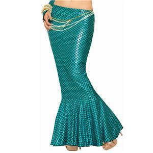 Fantasy Blue Mermaid Long Tail Fin Metallic Ariel Sexy Fish Costume Skirt