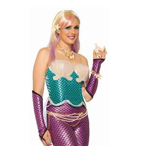 Women's Pink Magenta Fuschia Mermaid Arm Sleeves Elbow Glovelets Accessory