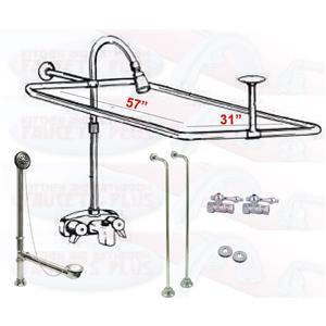 """Chrome Clawfoot Tub Faucet Add-A-Shower Kit W/57"""" x 31"""" Curtain Rod, Drain & Supplies"""
