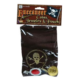 Buccaneer Coins Jewelry and Pouch Pirate Costume Accessory