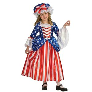 Rubie's Girl's Betsy Ross Deluxe Child Costume Dress and Hat Size Small 4-6