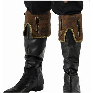 Men's Buccaneer Brown Pirate Boot Cuffs Costume Accessory
