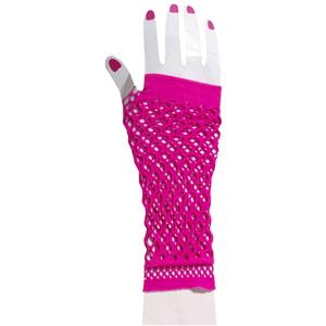 80's Club Candy Pink Double Fishnet Glovelettes Gloves